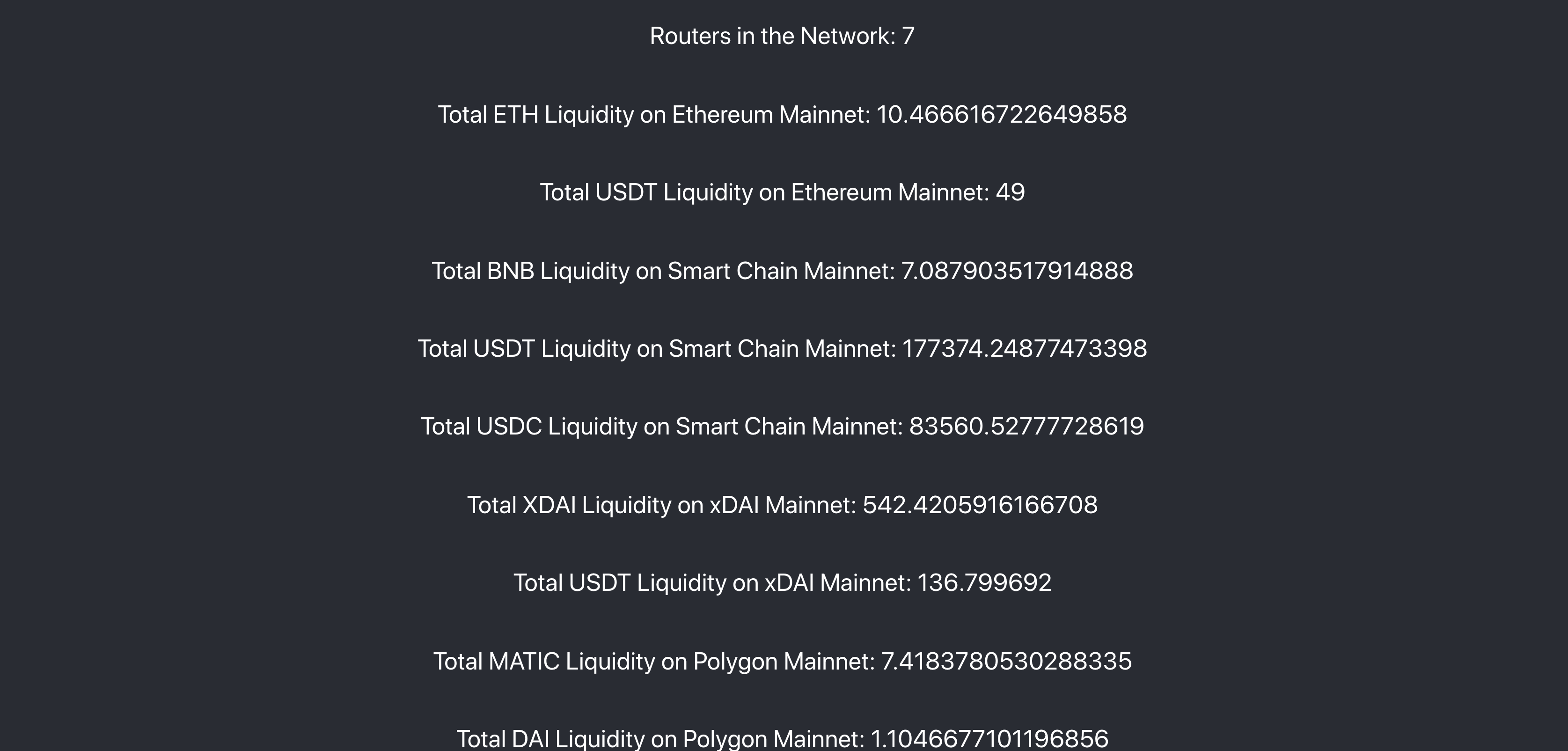 Global Router Metrics for Connext