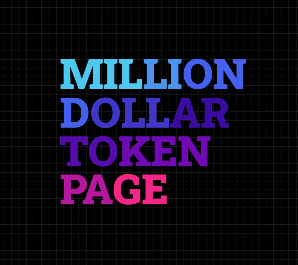 Milliondollartokenpage - now with DeFi! showcase